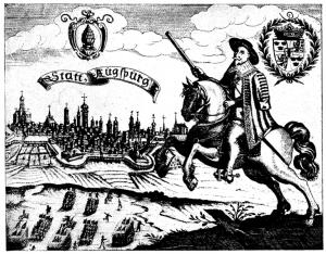 Hyllningsgravyr med anledning av Gustaf II Adolfs befriarens intåg i Augsburg 1632, Nordisk familjebok