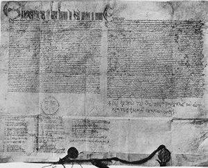 Unionsbulle Eugens IV. vom Florentiner Konzil 1439, zweisprachig mit griechischer Unterschrift des byzantinischen Kaisers, Bleibulle des Papstes und Goldbulle des Kaisers.