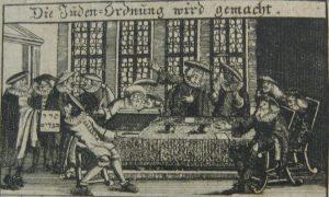 Verabschiedung der Kleiderordnung, Kupferstich aus Johann Jacob Schudt, Neue Franckfurter Jüdische Kleider-Ordnung, 1716