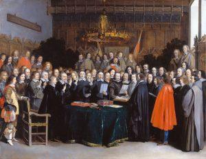 Die Unterzeichnung des spanisch-niederländischen Friedens am 15. Mai 1648 im Rathaus von Münster (Gerard Terborch 1648)