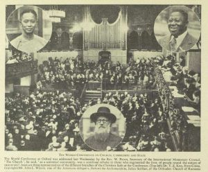 "Photograph of the 1937 Oxford Conference on ""Church, Community, and State"", photographer/source uncredited, originally appeared in The Listener, 21 July 1937, p. 137."