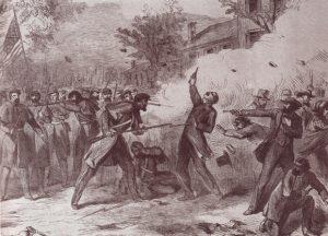 """Darstellung der Camp Jackson-Affäre, erstmals veröffentlicht in der New York Illustrated News am 25.05.1861 unter dem Titel """"Furchtbare Tragödie in St. Louis, Mo"""" (orig. """"Terrible Tragedy at St. Louis, Mo"""")."""