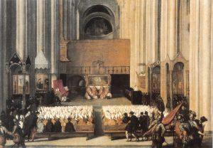 Eine zeitgenössische Darstellung des Trienter Konzils von Titian aus dem Jahr 1555. Quelle: Wikimedia Commons